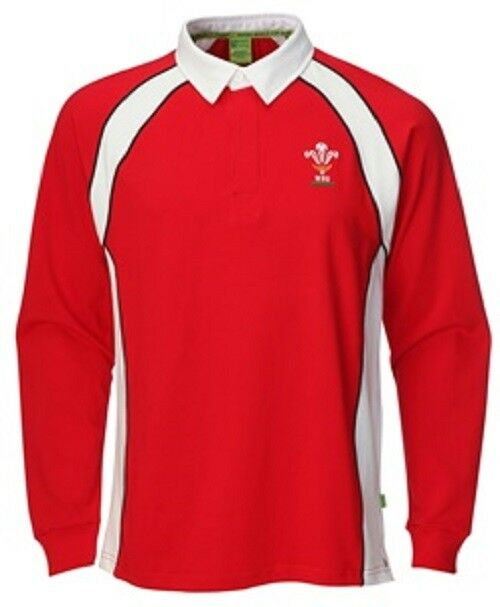 Mens Official Licensed WRU Wales Welsh Rugby Long Sleeve Rugby Jersey
