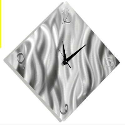 Ultra Modern Wall Clock Silver Abstract Metal Wall Art Clock Decor By Jon Allen Ebay