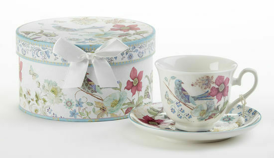 Image 0 of Delton Products Partridge 3.5 inches Porcelain Cup/Saucer in Gift Box, 8135-1