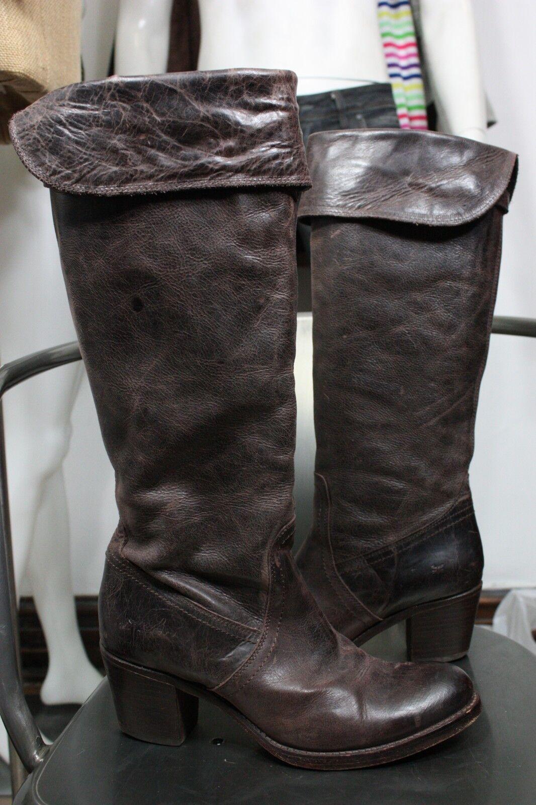 Frye Jayne Puño Alto botas 9 B Antiguo Cuero Marrón Rodilla Alto 77594