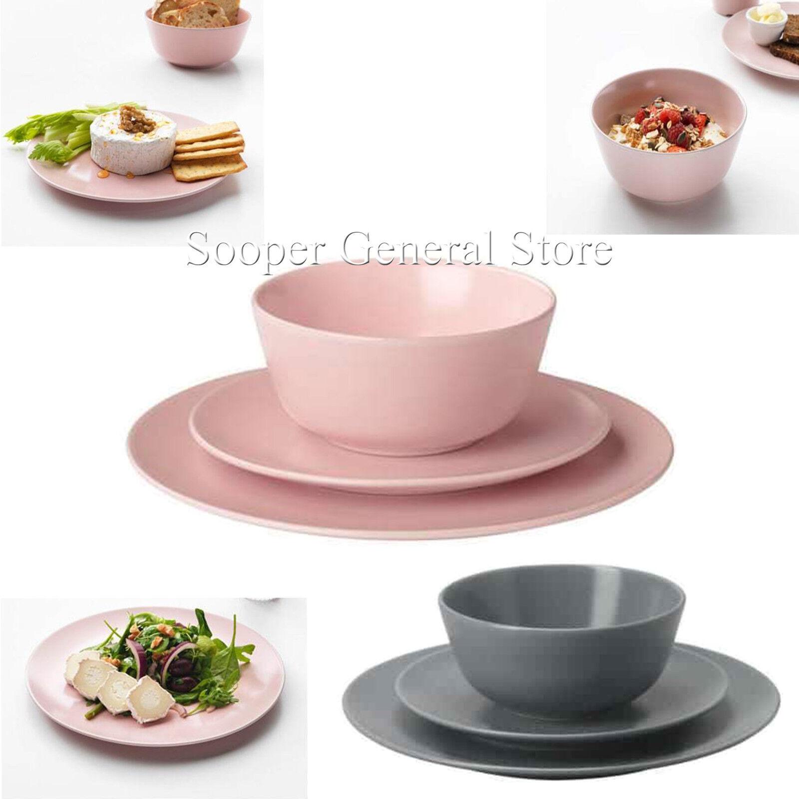 Stoviglie Set in Gres rosa Grigio Plain round serving piatti ciotole 18 12 PZ
