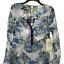 thumbnail 3 - New Anthropologie Cyrena S Tunic Top Blouse Shirt Floral Plaid Blue White Hi Low