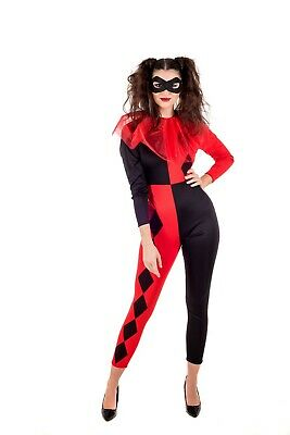 Womens Harlequin Costume S M L Ladies Circus Clown Jester Carnival Fancy Dress