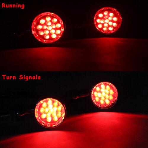 2x Chrome 12V LED Red Light Brake Running Turn Signals For Yamaha V Star Bobber