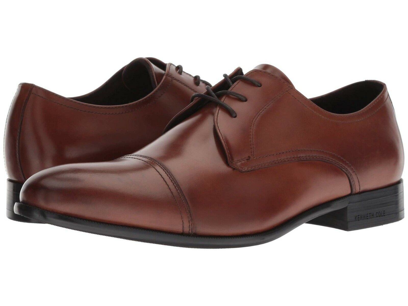 Men's Shoes Kenneth Cole Capital Lace-Up Oxfords KMF8132LE Brandy Leather *New*