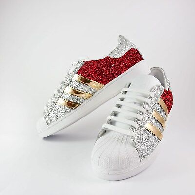 shoes adidas superstar with silver glitter and red more' mirrored gold | eBay