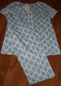 Nwt Aria Aquagray Chandelier Knit Pajama Cropped Capri Pantstop