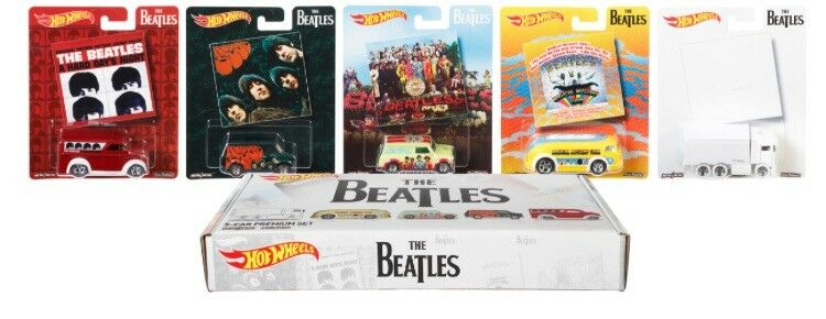 The Beatles 5 Car Set 2017 Hot Wheels Pop Culture Case