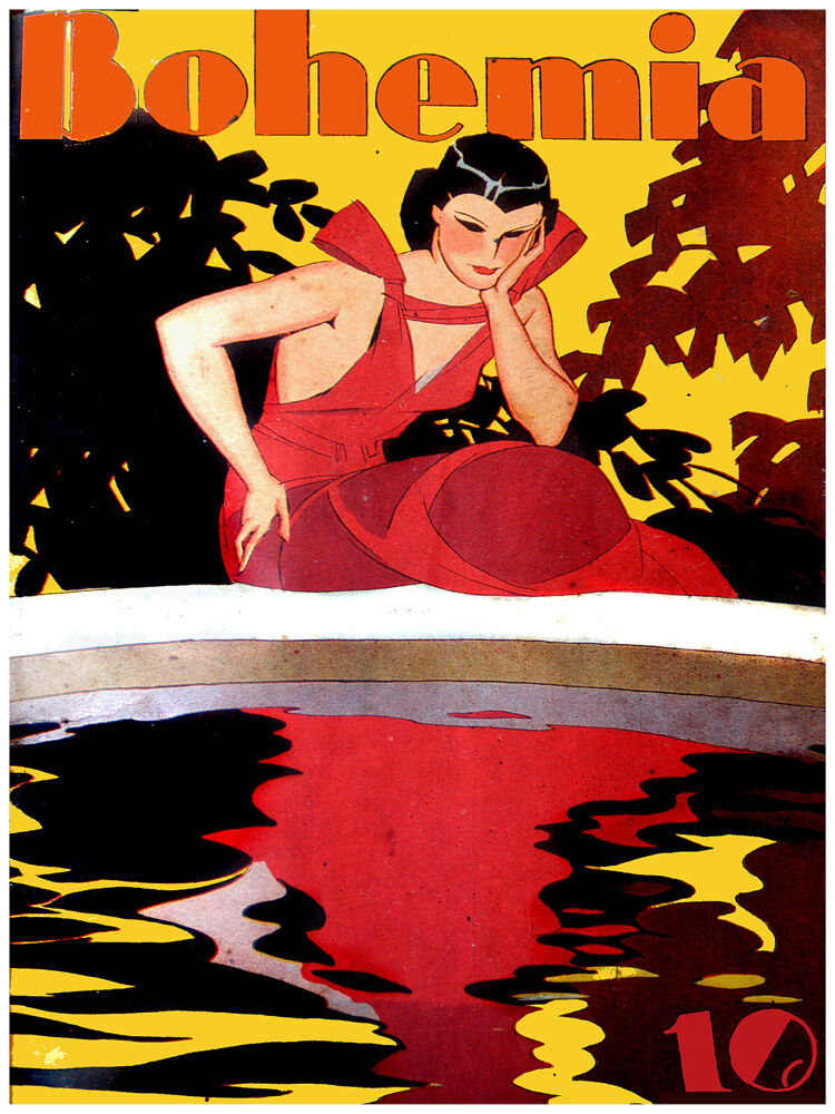 20x30 poster on CANVAS poster.Room design.Lady in rot stares at water.6947