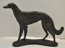 """Vintage Bronze Russian Wolfhound Borzoi Hunting Dog Statue Sculpture 15.5""""x10.5"""""""