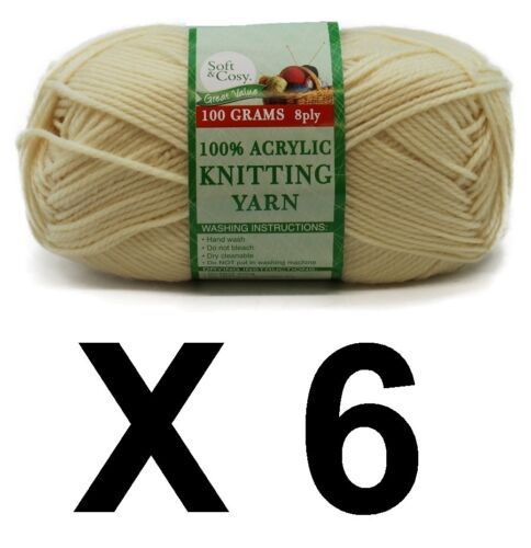 Knitting wool 6 x 100g acrylic yarn 8ply Pastel Yellow 100/% Brand New