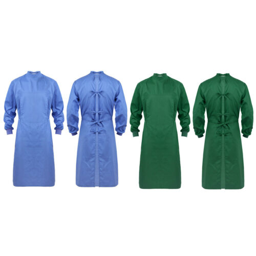 Unisex Surgical Gown Reusable Medical Operating Coat Hospital Scrub Top #S-XXL