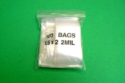 100 Ziplock Bags Small Clear Zip Seal Bags 2mil Poly Bag 1.5 x 2 Zip Lock Baggie