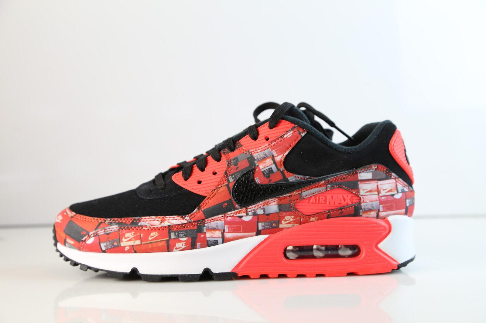 Nike Atmos Air Max 90 PRNT We Love Nike Black Bright Crimson AQO926-001 5-12 1