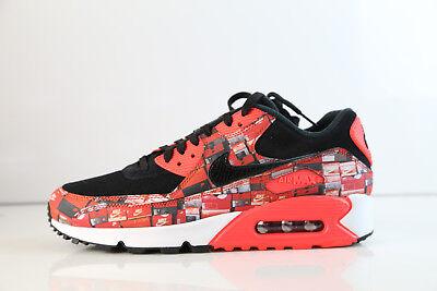 Nike Atmos Air Max 90 PRNT We Love Nike Black Bright Crimson AQO926 001 5 12 1 | eBay