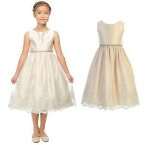 b5b6313df07 Details about Ivory Champagne Flower Girls Metallic Lace Dress Wedding  Party Easter Christmas