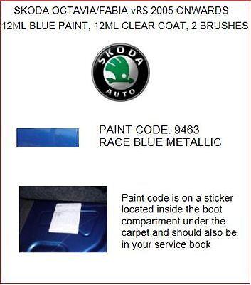 SKODA FABIA/OCTAVIA VRS,TOUCH UP PAINT, PAINT CODE 9463, RACE BLUE