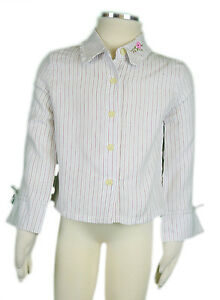 JACADI Girl's Revivre Natural Multi Striped Button Up Blouse Sz 2 Years NWT $56