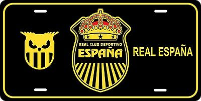 Real Espana Honduras License Plate Metal Calcomania Die Cut España Aurinegros