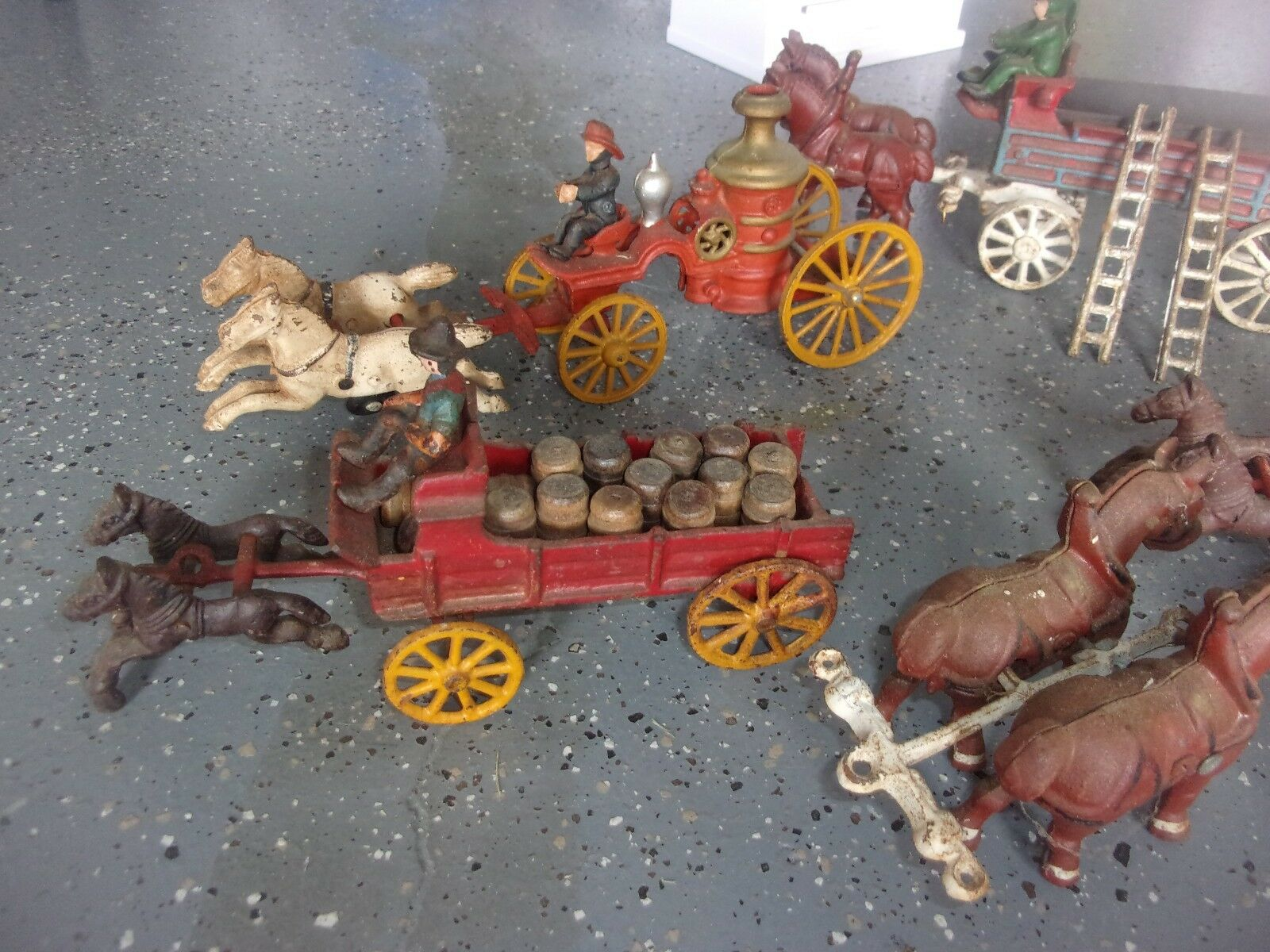 VINTAGE CAST IRON LOT OF FIGURES, WAGONS, HORSES, BARRELS