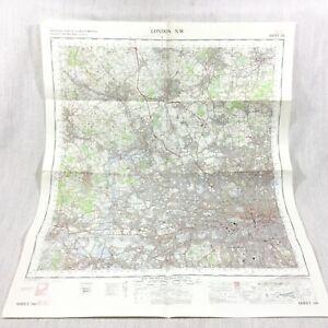 1967 Vintage Militare Mappa Di North Occidente London Kensington Camden Watford