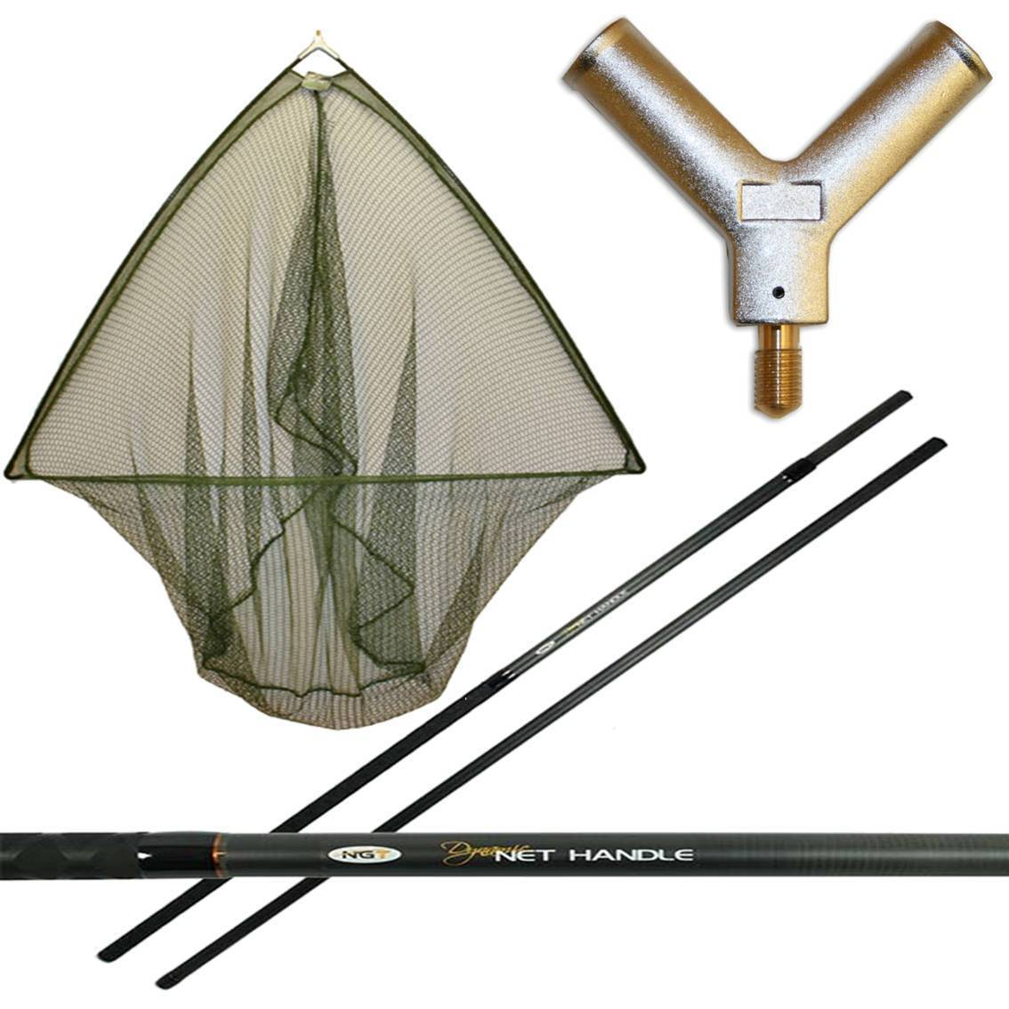 50  Inch Carp NGT Fishing Landing Net + 6FT 2pc Full Carbon Handle Dynamic Carp