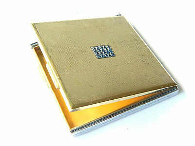 Art Deco Gemmed Brass POWDER BOX w/ SAPPHIRE Gemstones France Vintage Compact