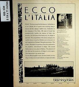 1985 Ecco L'Italia Bloomingdale's Vintage Print ad 7218