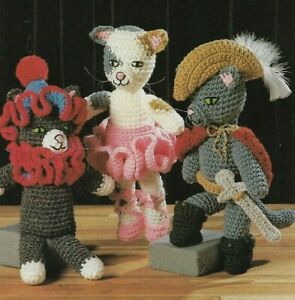 """3 STAGE CATS 13"""" STUFF ANIMALS TOY DIGEST SIZE CROCHET PATTERN INSTRUCTIONS"""