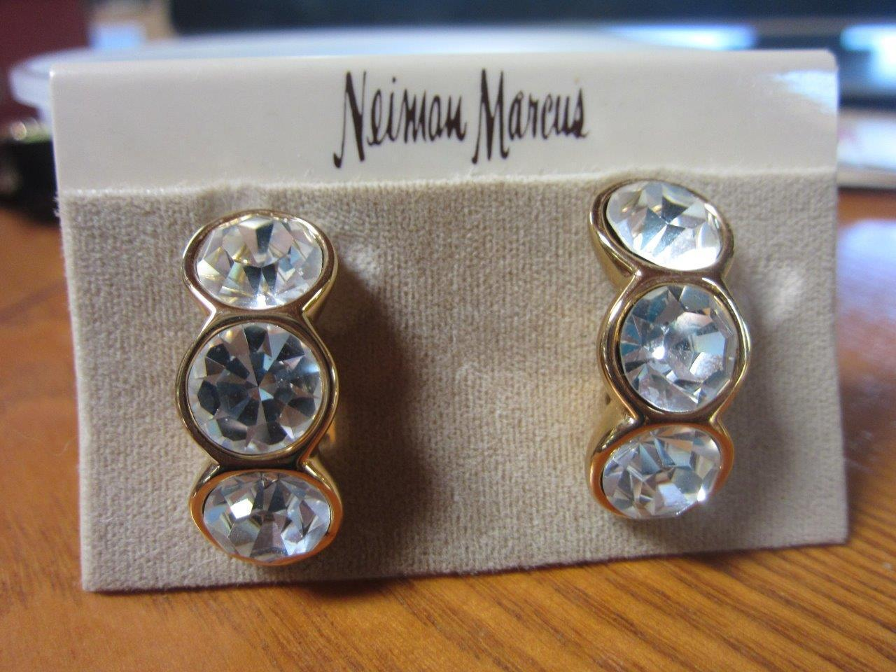 Vintage SWAROVSKI S.A.L. Large gold Plated Crystal EARRINGS NEIMAN MARCUS