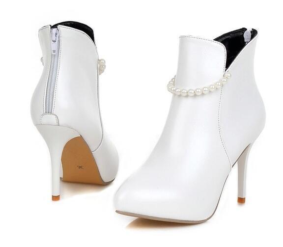 botas blanco tacón de aguja zapatos de tacón mujer 9 blanco botas perlas como piel 9411 ea05b2