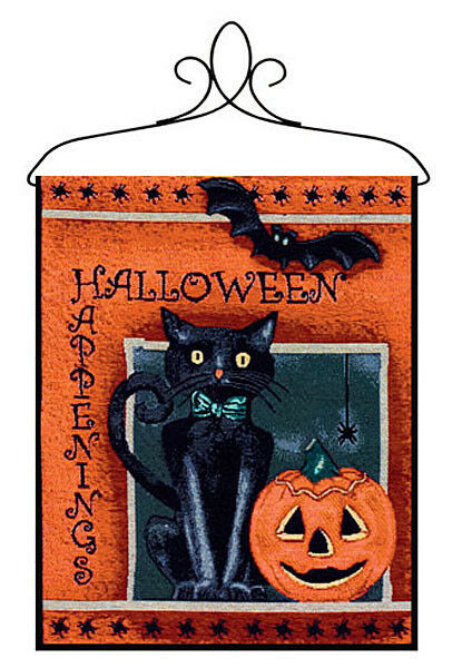 Halloween Happenings ~ Pumpkin/Black Cat/Bat ~ Tapestry Bannerette Wall Hanging