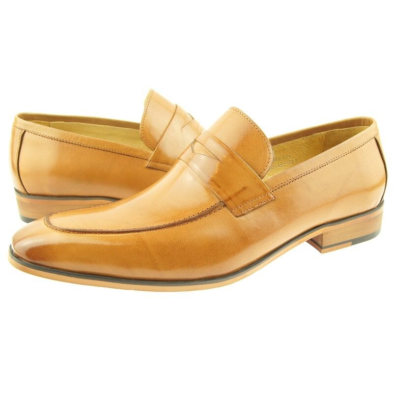 Carrucci Penny Loafer, Men's Dress Casual Slip-on Leather shoes, Tan