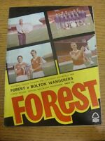 31/03/1979 Nottingham Forest v Bolton Wanderers  (Creased, Folded). Condition: L