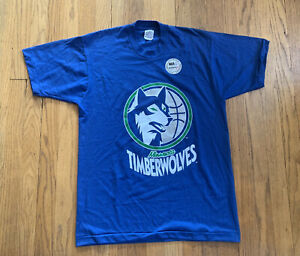 Minnesota-Timberwolves-Vintage-90-s-Single-Stitch-Swingster-T-NWT-Size-L-NBA