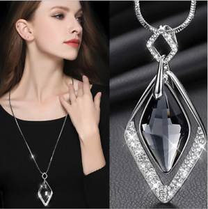 Damen-Halskette-Mode-Schmuck-Collier-Anhaenger-Silber-lange-Kette-75cm-Pullover