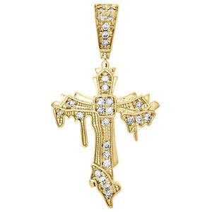 10 ct Diamant pendentif croix avec chaîne 14K or jaune sur Femme Homme Collier