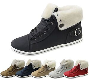 WOMENS-FUR-LINED-WINTER-BOOTS-LADIES-HIGH-TOP-ANKLE-SHOE-GIRLS-GRIP-SOLE-TRAINER