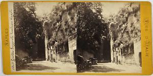 Stéréo, Italie, Naples, grotte Puzuoli tombeau Virgile Vintage stereo card,  T
