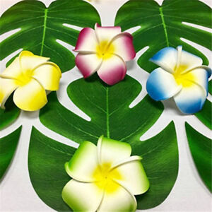 Hot-24pcs-Tropical-Hawaiian-Green-Leaves-Luau-Said-Fete-Table-Decorations-Bulk