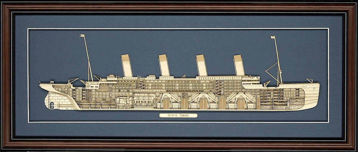 Madera Cutaway model of RMS Titanic-Hecho en EE. UU.