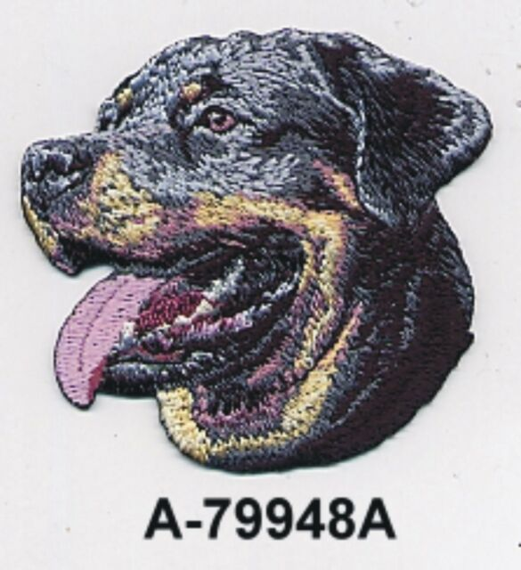 "2 1/2"" x 2 3/4"" Rottweiler Dog Breed Portrait Embroidery Patch"