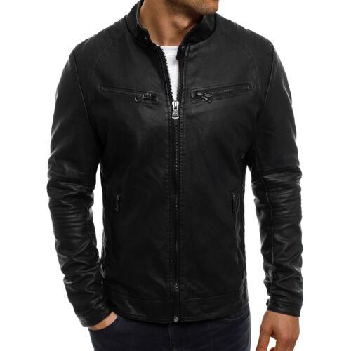 Ozonee señores de piel sintética chaqueta Biker transitorio chaqueta campera de cuero sweatjacke Mix