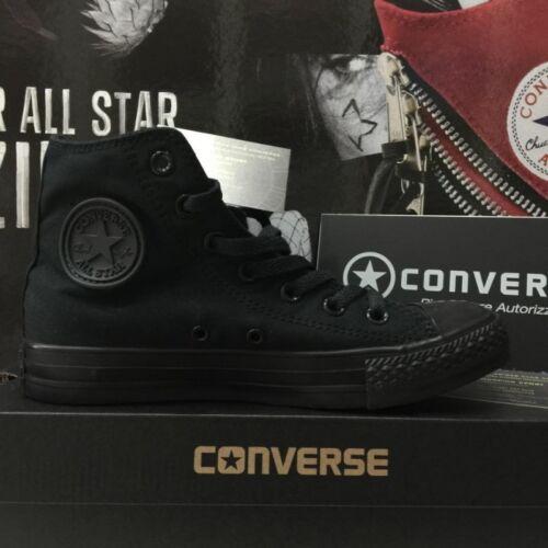 Converse Nere Alte Monochrome M3310 total Black High Tela Classic All Star