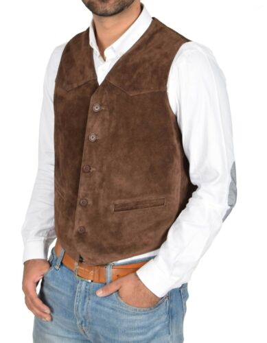 Mens Real Suede Leather Traditional Style Classic Waistcoat Gilet Vest Brown NEW