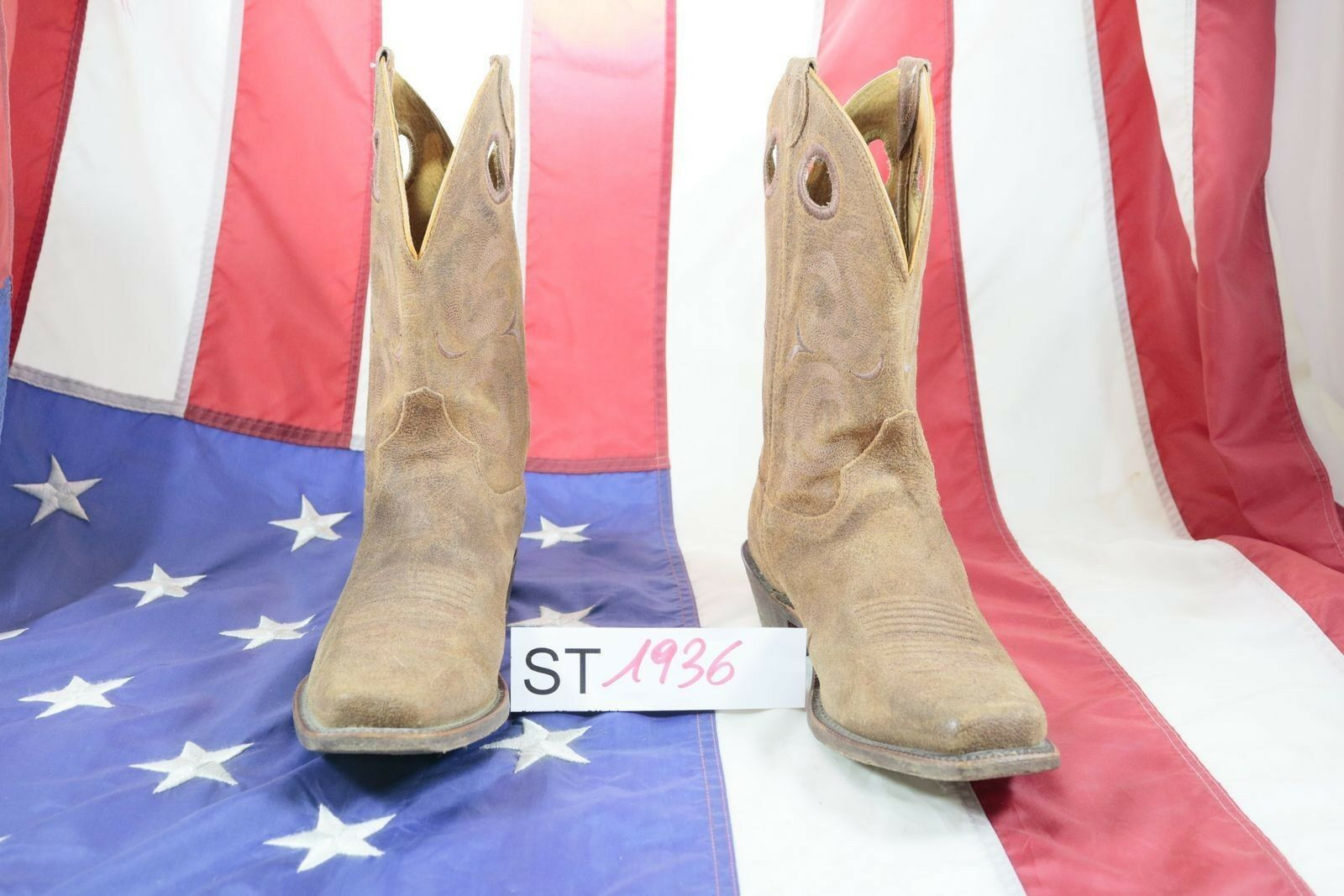 Stivali JUSTIN (Cod. ST1936)USATO N.9,5 men Pelle brown Cowboy Country Bikers