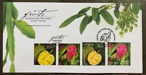 Singapore-Vietnam-2008-joint-issue-FDC-cover-Fruits-stamps-Durian-Dragon-fruit
