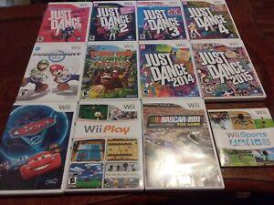 Lot-of-11-CIB-Games-Wii-Sports-Mario-Kart-Just-Dance-1-2-3-4-Donkey-Kong-Nascar