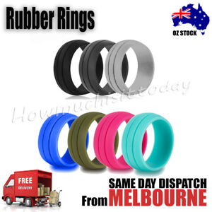 Rubber-Silicone-Active-Ring-Outdoor-Party-Wedding-Band-2-LIne-Grooves