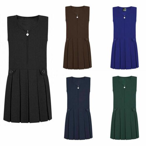 Girls Kids Heart Zip Box Pleated Front Sleeveless Pinafore School Uniform Dress